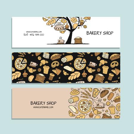 Banners design, idea for bakery company. Vector illustration Ilustração