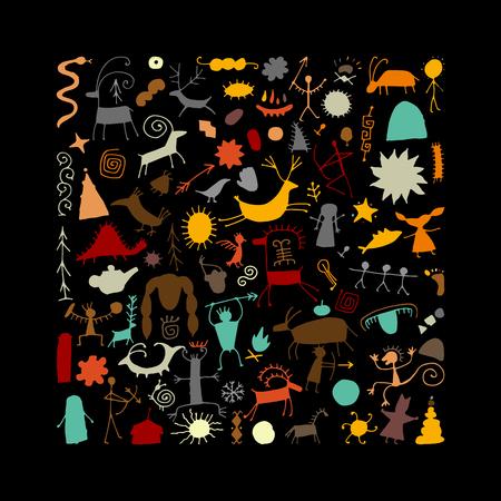 Felsmalereien Hintergrund, Skizze für Ihr Design. Vektor-Illustration
