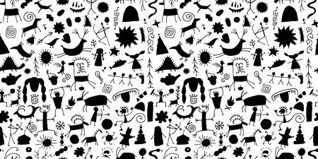 Fondo de pinturas rupestres, patrones sin fisuras para su diseño. Ilustración vectorial Ilustración de vector