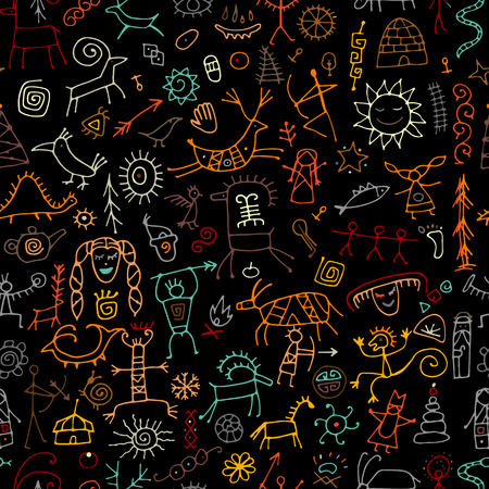 Rock paintings background, seamless pattern for your design. Vector illustration Archivio Fotografico - 122897866
