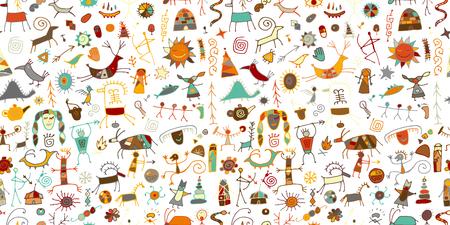 Fond de peintures rupestres, modèle sans couture pour votre conception. Illustration vectorielle Vecteurs