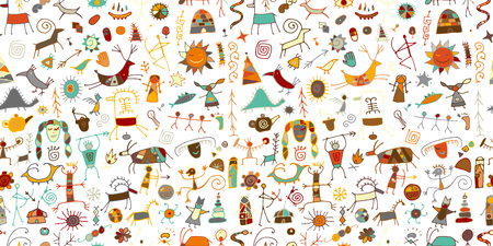 Sfondo di pitture rupestri, motivo senza cuciture per il tuo design. Illustrazione vettoriale Vettoriali