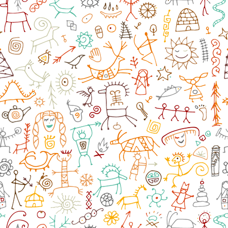 Rock paintings background, seamless pattern for your design. Vector illustration Archivio Fotografico - 122897869