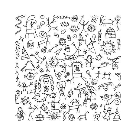 Fondo de pinturas rupestres, boceto de su diseño. Ilustración vectorial