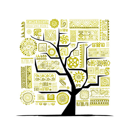 Ethnic tree with handmade ornament for your design. Vector illustration