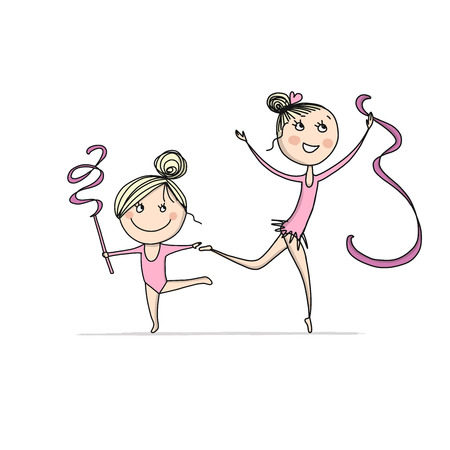 Rhytmic gymnastic. Cute girls, sketch for your design. Vector illustration Иллюстрация
