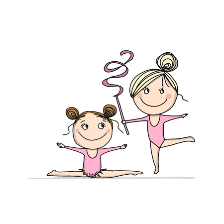 Rhytmic gymnastic. Cute girls, sketch for your design. Vector illustration