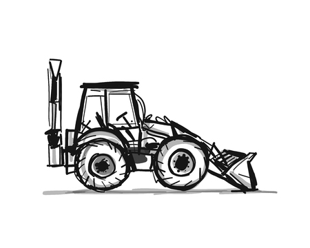 Escavatore, schizzo per il tuo design. Illustrazione vettoriale