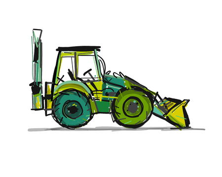 Escavator, sketch for your design. Vector illustration Vecteurs