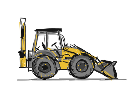 Escavator, sketch for your design. Vector illustration