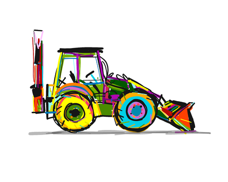Escavator, sketch for your design. Vector illustration Фото со стока - 122551538
