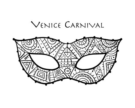 Máscara veneciana de carnaval ornamental para su diseño. Ilustración vectorial Ilustración de vector