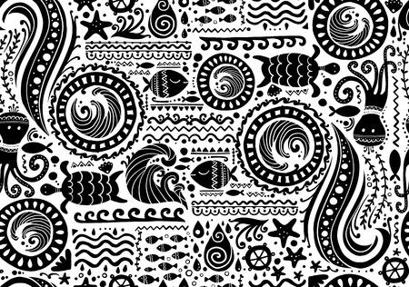 Fondo marino in stile polinesiano, motivo tribale senza cuciture per il tuo design. Illustrazione vettoriale Vettoriali