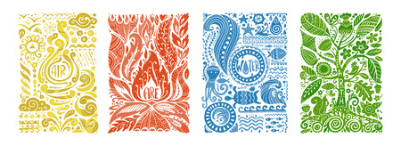 Four elements concept. Banners design. Vector illustration