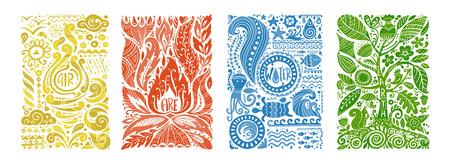 Concetto di quattro elementi. Progettazione di banner. Illustrazione vettoriale