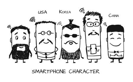 Smartphone characters, sketch for your design. Vector illustration Çizim
