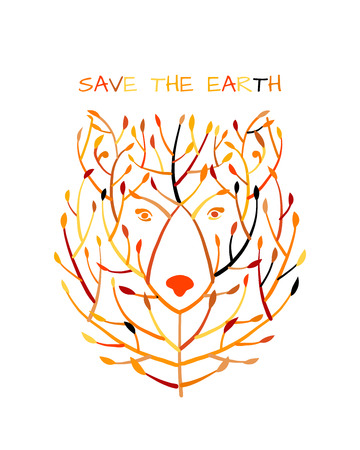 Bear face made from tree, save the earth concept, Sketch for your design Standard-Bild - 121993592