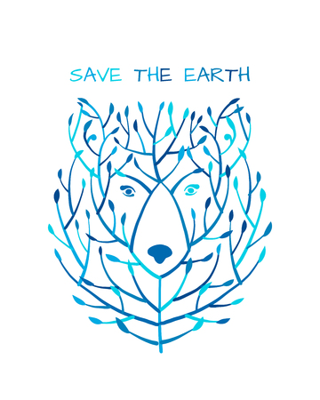 Bear face made from tree, save the earth concept, Sketch for your design Stockfoto - 121993593