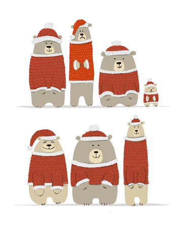 Santa bears family, sketch for your design. Vector illustration Фото со стока - 122551546