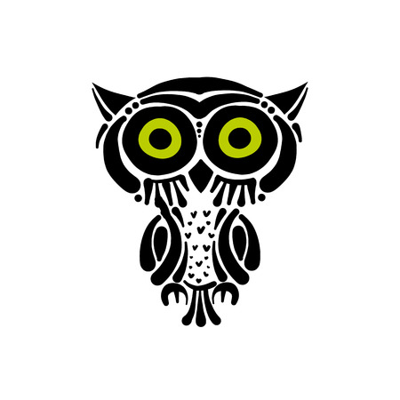 Cute owl logo, black silhouette for your design Illustration