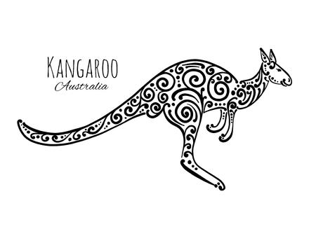 Ornate kangaroo, sketch for your design. Illusztráció