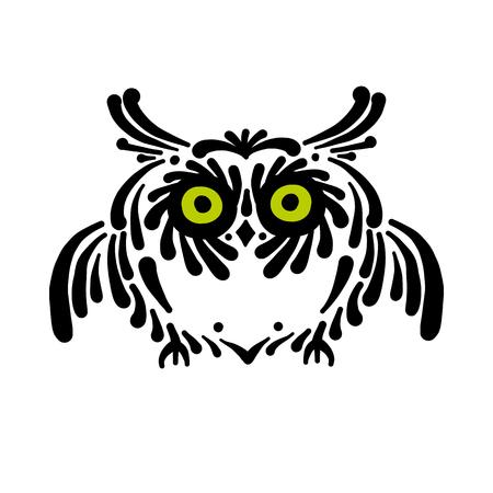 Cute owl logo, black silhouette for your design Foto de archivo - 121993714