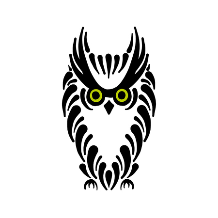 Cute owl logo, black silhouette for your design Vectores