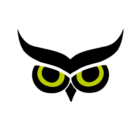 Owl eyes, black silhouette for your design Çizim
