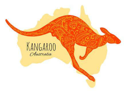 Ornate kangaroo, sketch for your design. Stok Fotoğraf - 121993720