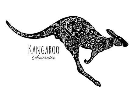 Ornate kangaroo, sketch for your design. Illustration