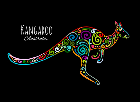 Ornate kangaroo, sketch for your design. 일러스트
