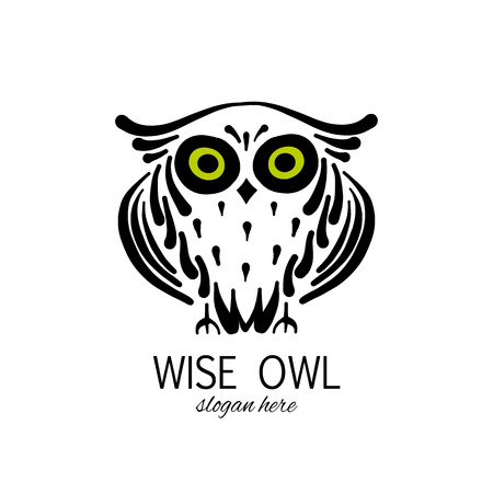 Cute owl logo, black silhouette for your design Foto de archivo - 121993674