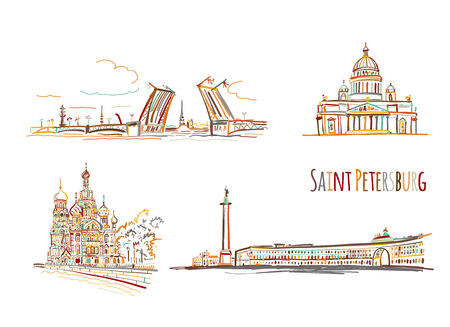 Symbols of Saint Petersburg, Russia. Sketch for your design