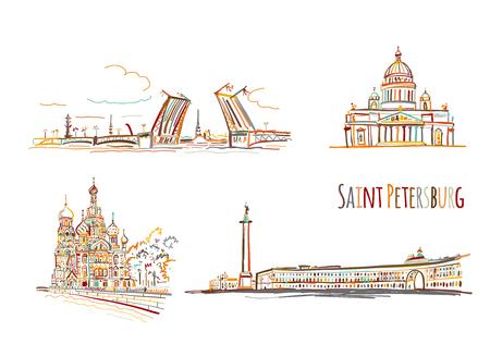 Symbols of Saint Petersburg, Russia. Sketch for your design Stock Vector - 121993792