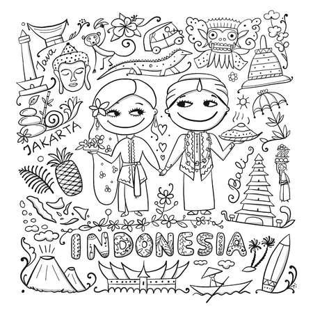 Viaja a Indonesia. Tarjeta para colorear para su diseño. Ilustración vectorial