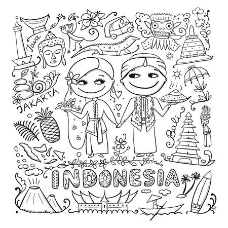 Voyage en Indonésie. Carte à colorier pour votre conception. Illustration vectorielle