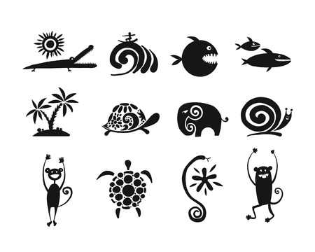 Funny animals collection, black silhouette for your design Ilustrace