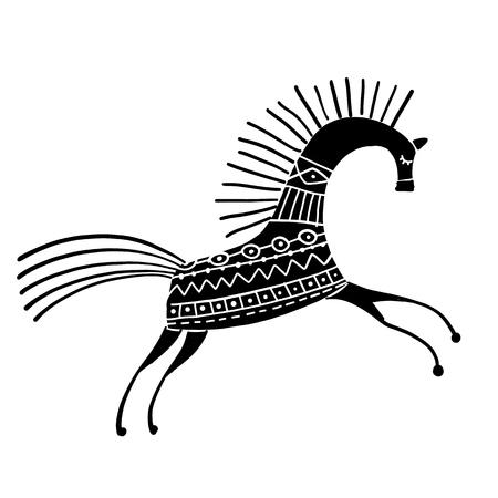 Caballo popular abstracto adornado para su diseño. Ilustración vectorial Ilustración de vector