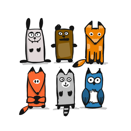 Forest animal character collection, sketch for your design. Vector illustration Illustration