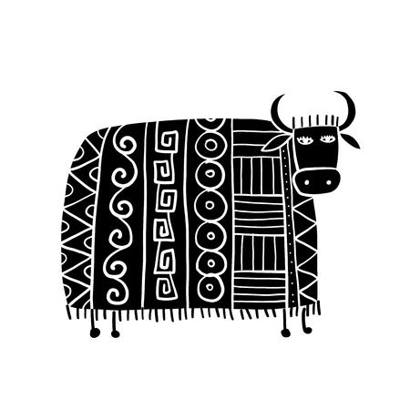 Funny cow, sketch for your design Vecteurs
