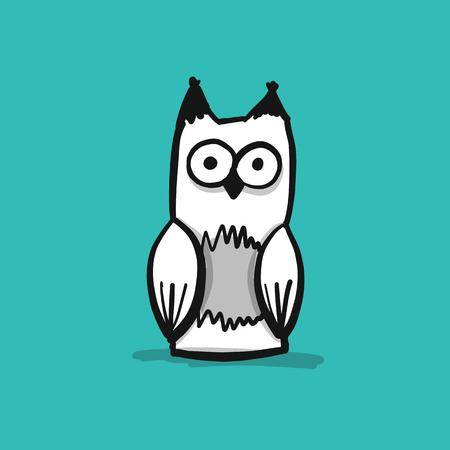 Forest owl character, sketch for your design Reklamní fotografie - 121993856