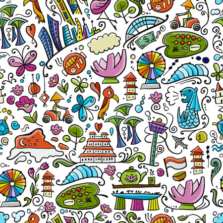 Travel to Singapore. Seamless pattern for your design 免版税图像 - 122107676