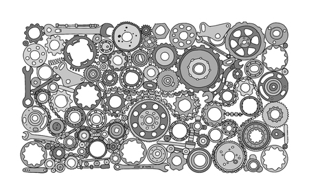 Auto spare parts and gears, background for your design. Vector illustration Foto de archivo - 122551566