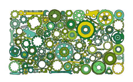 Auto repuestos y engranajes, antecedentes para su diseño. Ilustración vectorial Ilustración de vector