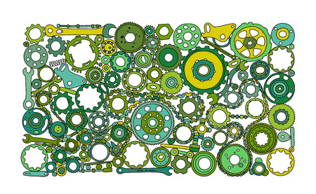 Auto spare parts and gears, background for your design. Vector illustration Foto de archivo - 128174937
