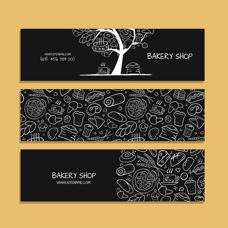 Banners design, idea for bakery company. Vector illustration 向量圖像