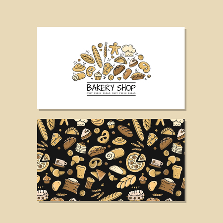 Business cards, design idea for bakery company. Vector illustration Ilustrace