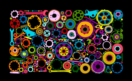 Auto spare parts and gears, background for your design. Vector illustration Stock fotó - 128174947