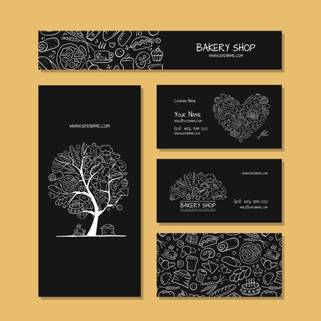 Business cards, design idea for bakery company. Vector illustration 向量圖像