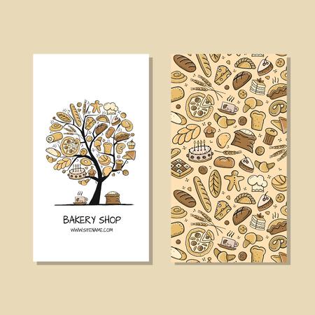 Business cards, design idea for bakery company Ilustração